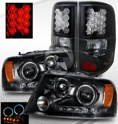 Ford F150 2004-2008 Black Halo Projector Headlights and LED Tail lights