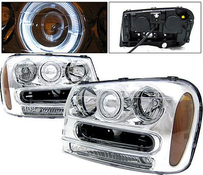 Chevy TrailBlazer 2002-2009 Clear Projector Headlights with Halo