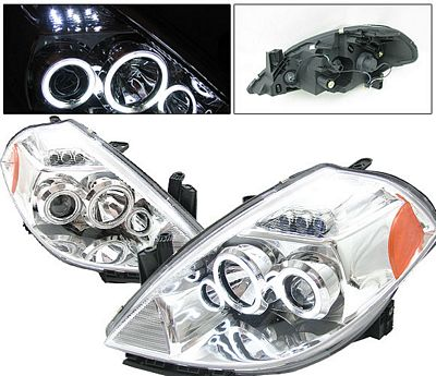 Nissan Versa 2007-2009 Anzo Clear Dual CCFL Halo Projector Headlights