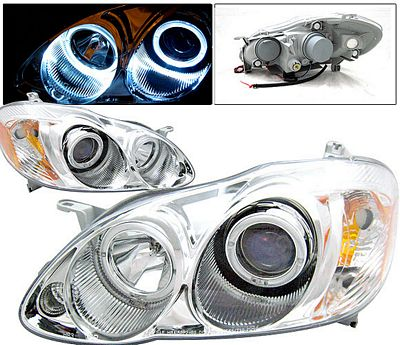 Toyota Corolla 2003-2008 Clear Dual Halo Projector Headlights