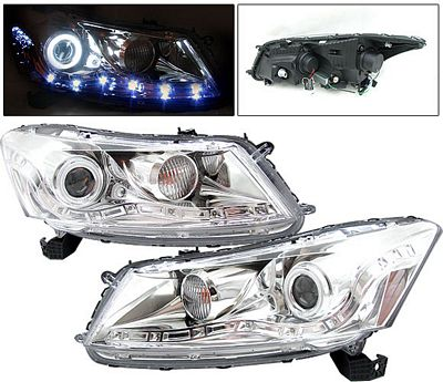 Honda Accord Sedan 2008-2012 Projector Headlights Chrome CCFL Halo LED DRL