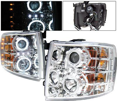 Chevy Silverado 2007-2013 Clear Projector Headlights with CCFL Halo and LED