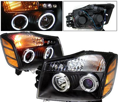 Nissan Armada 2004-2007 Black Projector Headlights CCFL Halo LED