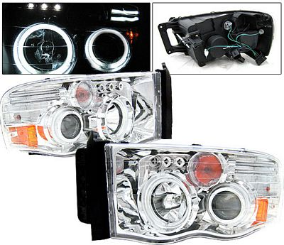 Dodge Ram 2002-2005 Clear Dual CCFL Halo Projector Headlights