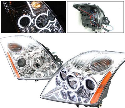 Nissan Sentra 2007-2010 Clear Projector Headlights CCFL Halo LED
