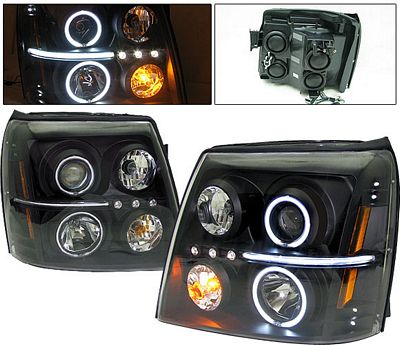 Cadillac Escalade 2002-2006 Black Projector Headlights with CCFL Halo and LED
