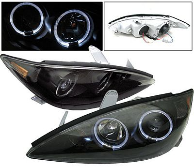 toyota camry 2005 2006 black dual halo projector headlights a1178bcm101 topgearautosport. Black Bedroom Furniture Sets. Home Design Ideas
