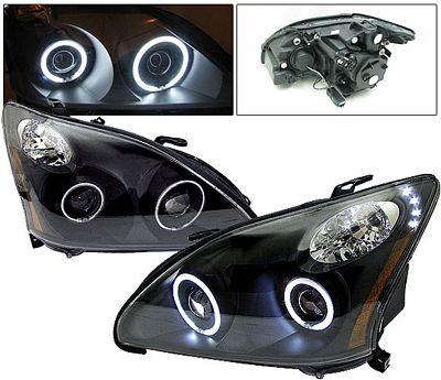Lexus RX330 2004-2006 Anzo Black Dual CCFL Halo Projector Headlights