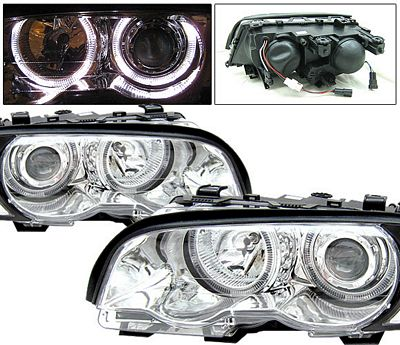 BMW E46 Coupe 3 Series 1999-2001 Clear Projector Headlights with Halo