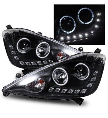 honda fit 2009 2010 projector headlights black halo led. Black Bedroom Furniture Sets. Home Design Ideas