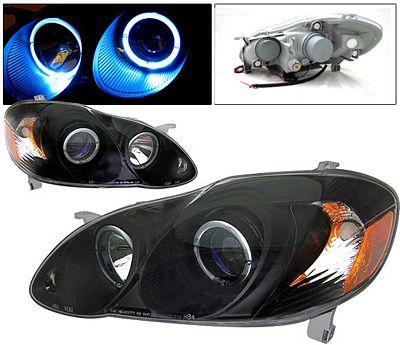 Toyota Corolla 2003-2008 Black Projector Headlights Halo