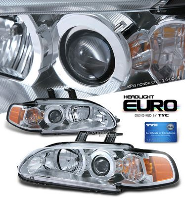 Honda Civic 1992-1995 TYC Clear Projector Headlights with Corner Lights