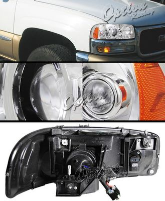 GMC Sierra 1999-2006 TYC Clear Projector Headlights