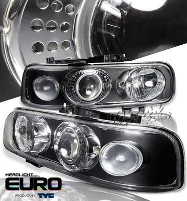 Chevy Suburban 2000-2006 TYC Black Projector Headlights