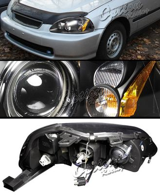 Honda Civic 1996-1998 TYC JDM Black Projector Headlights