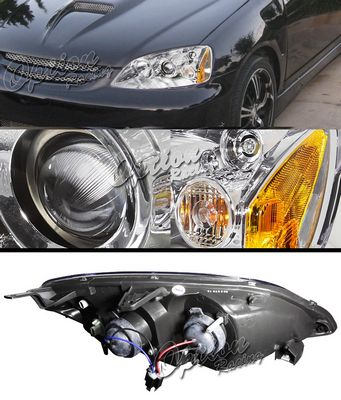 Honda Civic 2001-2003 TYC Clear Projector Headlights