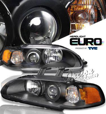 Honda Civic 1992-1995 TYC JDM Black Projector Headlights with Corner Lights