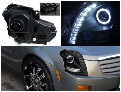 Cadillac Cts 2003 2007 Black Projector Headlights Halo Led