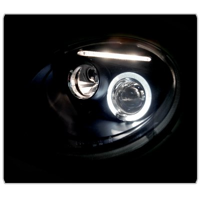 VW Beetle 1998-2005 Black Halo Projector Headlights