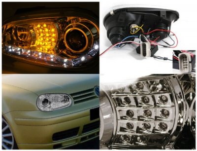VW Golf 1999-2005 Clear Projector Headlights with Amber LED Daytime Running Lights