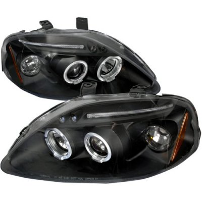 Honda Civic 1999-2000 JDM Black Dual Halo Projector Headlights with LED