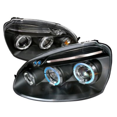 VW Rabbit 2006-2009 Black Dual Halo Projector Headlights with LED