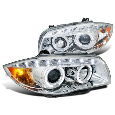 BMW E87 1 Series 2008-2011 Clear Halo Projector Headlights with LED