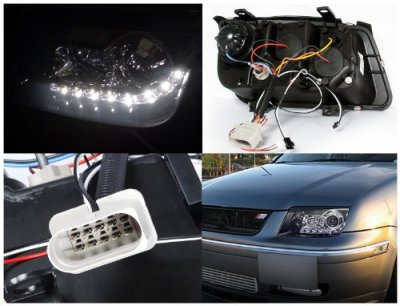 VW Jetta 1999-2004 Black Projector Headlights with LED Daytime Running Lights