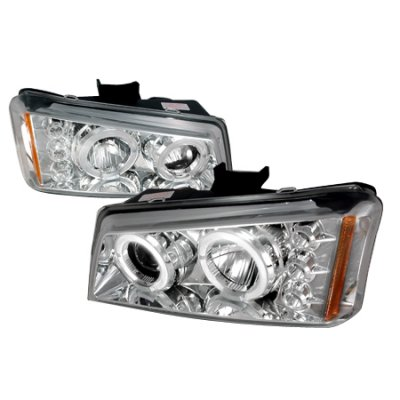Chevy Avalanche 2003-2006 Chrome Halo Projector Headlights with LED