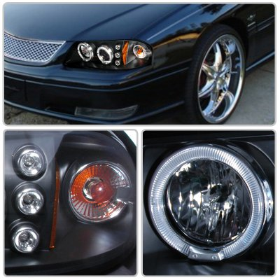 Chevy Impala 2000 2005 Black Dual Halo Projector Headlights With Led