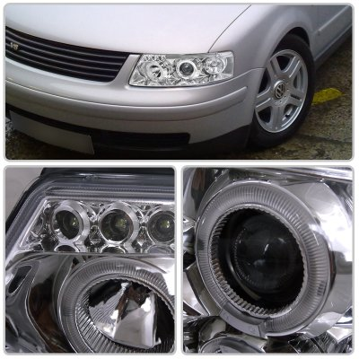 VW Passat 1997-2000 Clear Halo Projector Headlights with LED