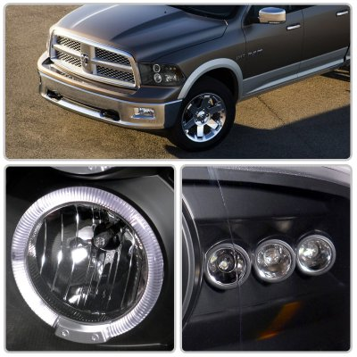 dodge ram 2009 2012 black dual halo projector headlights. Black Bedroom Furniture Sets. Home Design Ideas