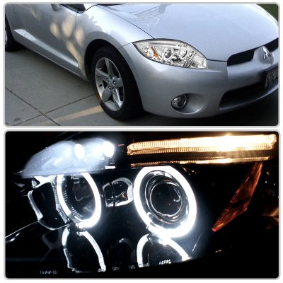 Mitsubishi Eclipse 2006-2008 Clear Dual Halo Projector Headlights with LED