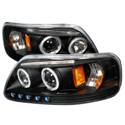 Ford Expedition 1997-2002 Black Halo Projector Headlights with LED Eyebrow