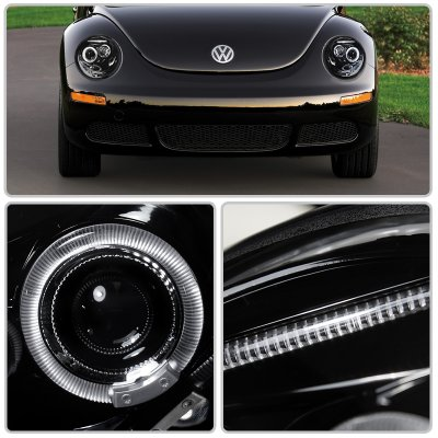 VW Beetle 1998-2005 Smoked Halo Projector Headlights