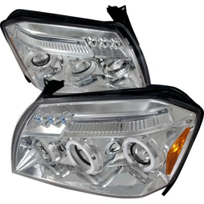 Dodge Magnum 2005-2007 Clear Dual Halo Projector Headlights with LED