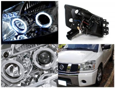 Nissan Titan 2004-2007 Clear Dual Halo Projector Headlights with LED