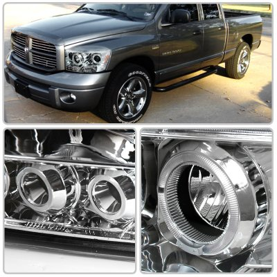 Dodge Ram 2500 2006 2009 Clear Halo Projector Headlights Led