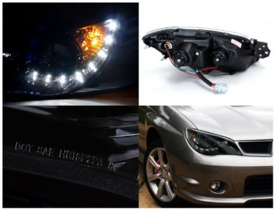 Subaru Impreza 2006-2007 Smoked Projector Headlights with LED