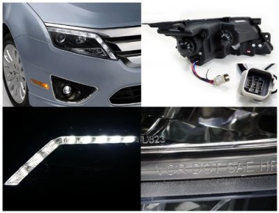Ford Fusion 2010-2012 Black Projector Headlights LED DRL
