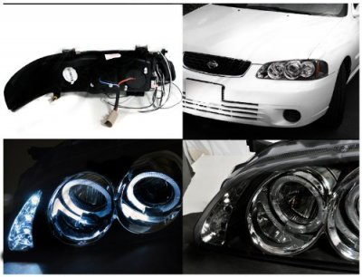 Nissan Sentra 2000 2003 Black Halo Projector Headlights With Led