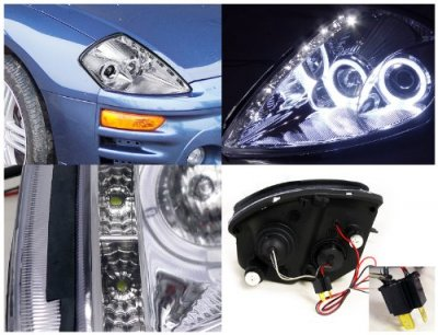 Mitsubishi Eclipse 2000-2005 Chrome Projector Headlights Halo LED DRL