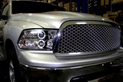 Dodge Ram 2009-2016 Clear Dual Halo Projector Headlights with LED