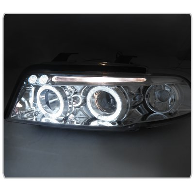 Audi A4 1996-1999 Clear Halo Projector Headlights with LED