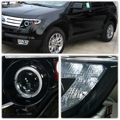 Ford Edge   Smoked Projector Headlights Halo Led Drl