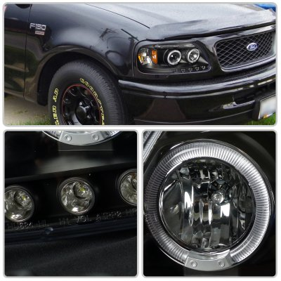 Ford F150 1997 2003 Black Halo Projector Headlights With Led Eyebrow