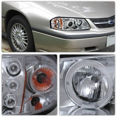 Chevy Impala 2000-2005 Clear Dual Halo Projector Headlights with LED