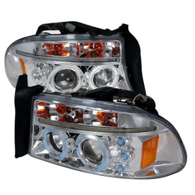 Dodge Durango 1998-2003 Clear Dual Halo Projector Headlights with LED