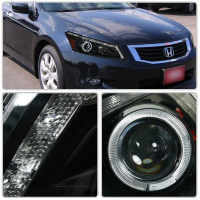 Honda Accord Sedan 2008 2012 Halo Projector Headlights Led
