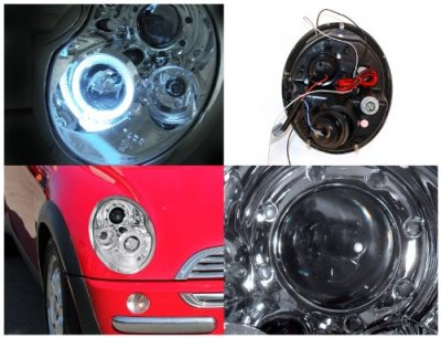 Mini Cooper 2002-2005 Clear Halo Projector Headlights